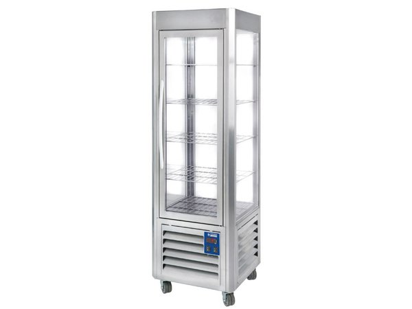 Diamond Refrigerated display - Stainless steel - 360 liters - 5 Schedules and Wheels - 60x63x (h) 185cm