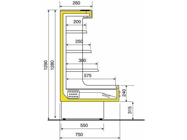 Diamond Koelvitrine - 4 niveaus - voor zelfbediening - 100x75x129cm