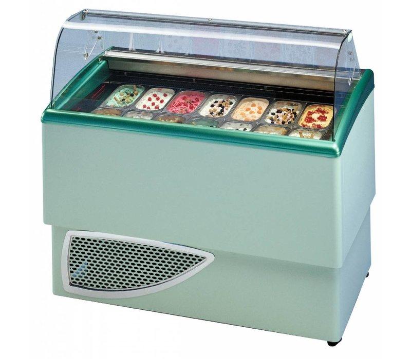 Diamond Schaufel-Eiscreme-Display für Ice Cream | Beleuchtung | 2 x 7 Backen | Laufräder | 1349x773x (H) 1225mm