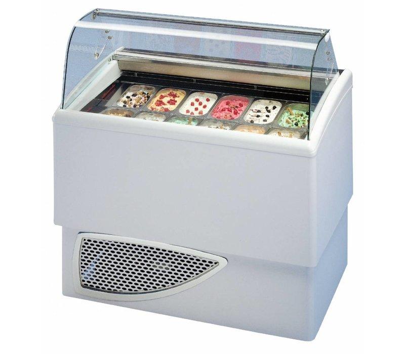 Diamond Schaufel-Eiscreme-Display für Ice Cream | 2 x 6 Fächer | -16 / -18 Grad | Einschließlich Laufräder | 1184x773xh1225mm