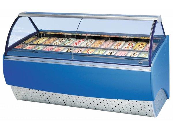 Diamond Freezer Showcase for ice cream   2 x 12 baking   dual zone presentation   2240x1135x (H) 1344mm