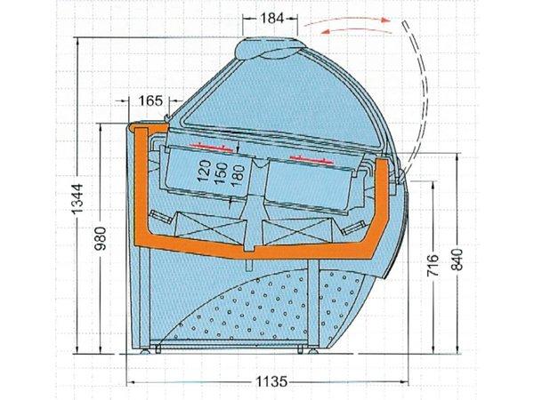 Diamond IJsvitrine voor Roomijs | 18 Bakken | Nachtgordijn | 1.65 kW | 1705x1135x(H)1344mm