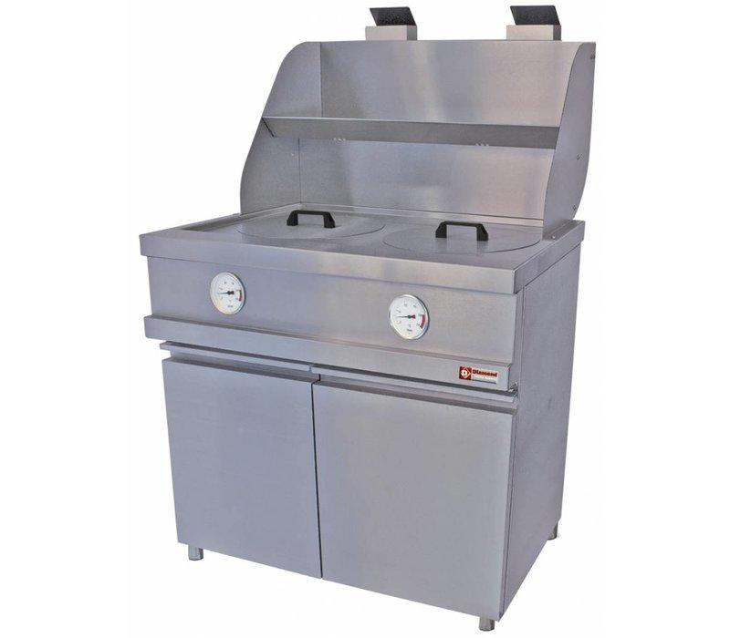 Diamond Gas Fryer RVS | Rund Tubs 2x13 Liter | Frame 2 Klappbare | 960x870xh930 / 1507 (h) mm
