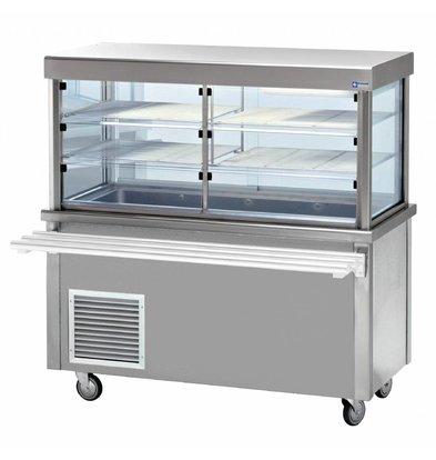 Diamond Kühlvitrine Kühlvitrine mit Unterschrank | Open Storage | 4 x 1/1 GN | 1500x700x (h) 1620mm | 0,6 kW