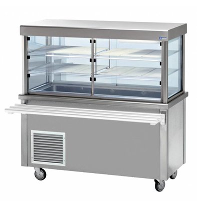 Diamond Refrigerated display Refrigerated display case with base cabinet | Open Storage | 4 x 1/1 GN | 1500x700x (h) 1620mm | 0.6 kW