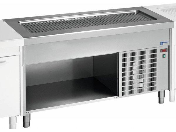 Diamond Heatsink Shallow Tub - 6x GN 1/1 - Edelstahl offenen Schrank - 0,6 kW - 2250x800x (h) 900mm