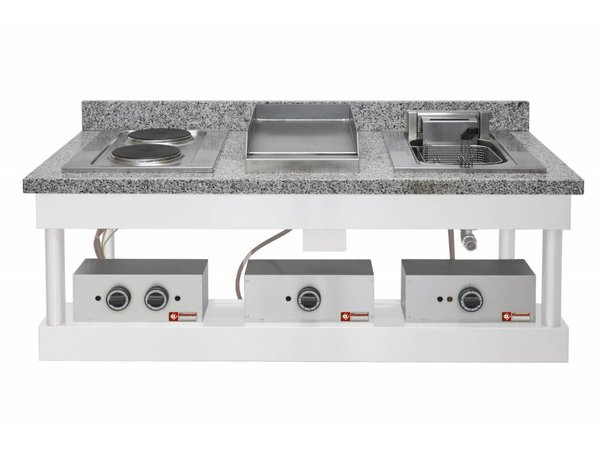 Diamond Stainless steel griddle Smooth | Drop-in | 120 ° to 320 ° C | 400V / 4,5 kW | 400x600mm