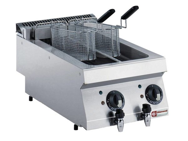 Diamond Electric Fryer | 2x5 Liter | Stainless Tabletop | 400V / 9kW | 400x700x250 / 320 (h) mm