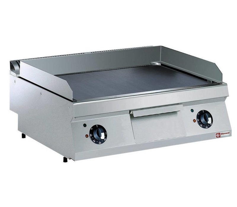 Diamond Electric stove SS | Chromed Plate | Smooth 2/3 and 1/3 Ribbed | 400V / 9kW | 800x700x250 / 320 (h) mm