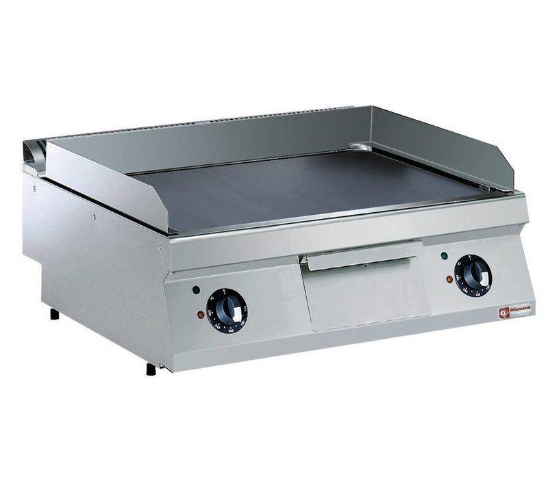 Diamond Kookplaat Elektrisch RVS | Verchroomde Plaat | 2/3 Glad en 1/3 Geribd | 400V/9kW | 800x700x250/320(h)mm