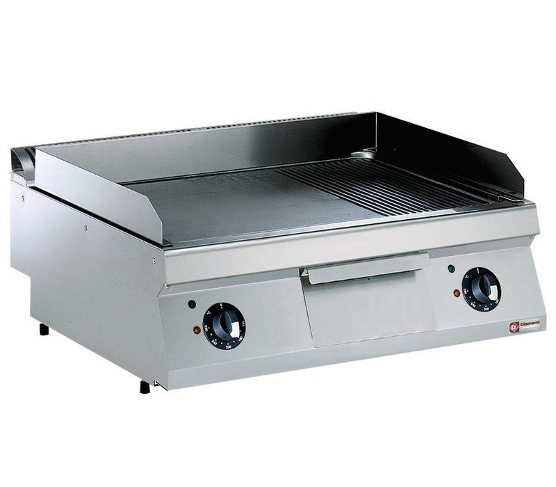Diamond Electric stove SS | Smooth 2/3 and 1/3 Ribbed | 400V / 9kW | 800x700x250 / 320 (h) mm