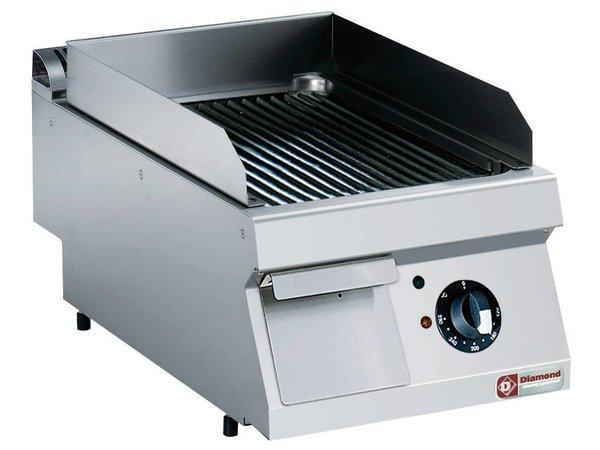 Diamond Kookplaat RVS | Geribd | Tafelmodel | 400V/4,5kW | 400x700x250/320(h)mm