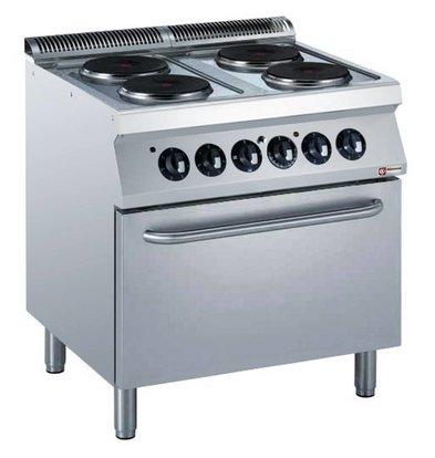 Diamond Elektrisch Fornuis | 4 Platen | 400V | 2,6kW | Elektrische Oven | 800x700x(h)850/920mm