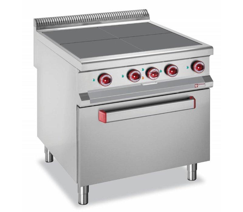 Diamond Fornuis Elektrisch + Oven GN2/1 | RVS | 4 Kookplaten | 16kW | 800x900x850/920(h)mm