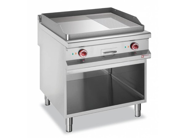 Diamond griddle | electric | chrome | Flat 2/3, 1/3 Ribbed | 400V | 12kW | Open Cupboard | 800x900x (h) 850 / 920mm