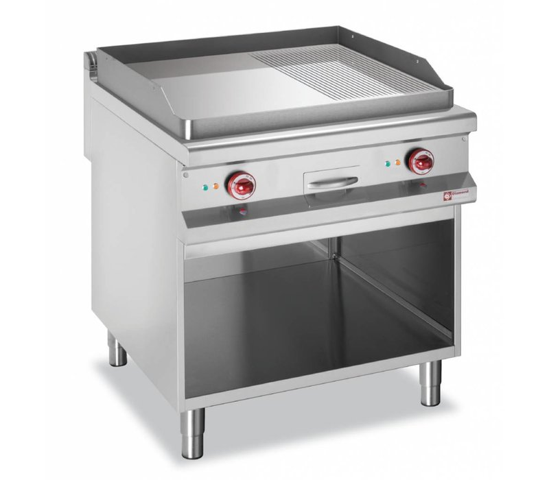 Diamond griddle | electric | Flat 2/3, 1/3 Ribbed | 400V | Open Cupboard | 800x900x (h) 850 / 920mm