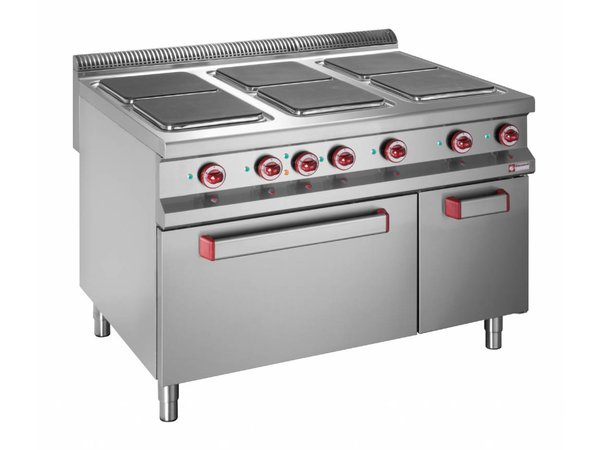 Diamond stove | 6 Square Cooking | 400V | 3 and 4kW | Electric Oven Maxi | 1200x900- (h) 850 / 920mm