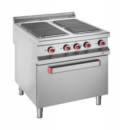 Diamond Elektrisch fornuis | 4 Vierkante Kookplaten | 400V | 3 en 4kW | Elektrische Oven | 800x900x(h)850/920mm