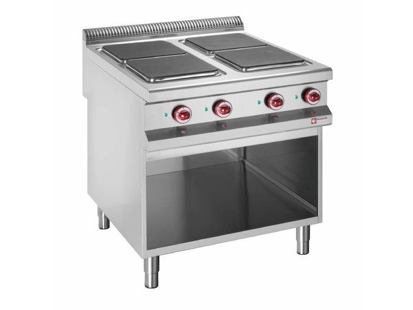 Diamond Elektrisch Fornuis | 4 Kookplaten | 400V | 3 en 4kW | Open Kast | 800x900x(h)850/930mm