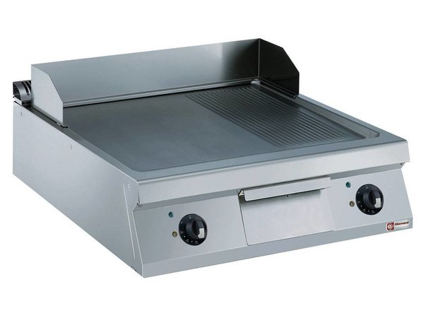 Diamond Fry Top Electric SS | Smooth 2/3 and 1/3 Ribbed | 15kW / 400V | 800x900x250 / 320 (h) mm