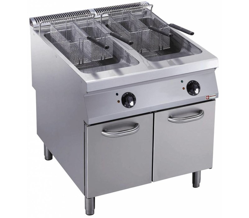 Diamond fryer | electric | 2 x 23 liters | 400V | 36kW | Exterior Burners | on Cabinet | 800x900x (h) 850 / 920mm
