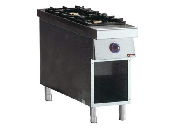 Diamond stove | gas | 2 Burners | 5.5 and 7.5 kW | Open Cupboard | Central Passage | 400x1100x (H) 850mm