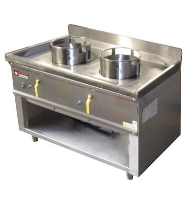 Diamond Wok burner gas stove 2 Open Frame - 23KW