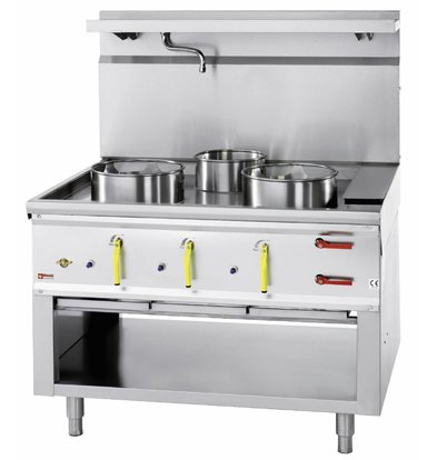 Diamond Gas Wok Stove 3 burners with water curtain - 2 x 23KW + 1 x 11kw