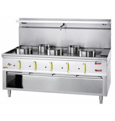 Diamond Wok Gas Cooker 5 burners with water curtain - 3 x 23KW + 2 x 11kw