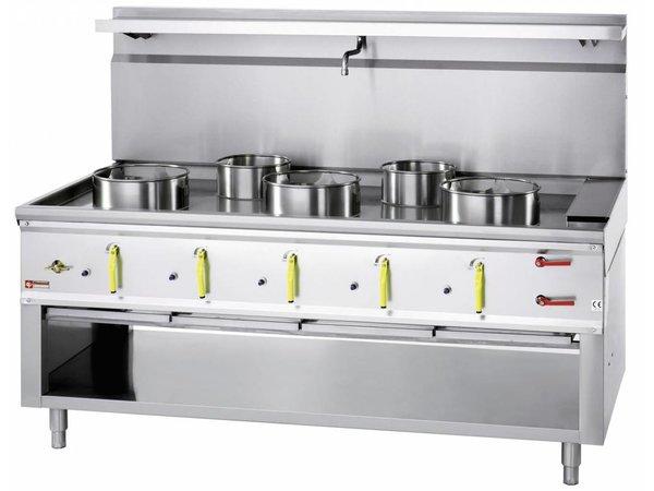 Diamond Wok-Gas-Kocher 5 Brenner mit Wasservorhang - 3 x 23KW + 2 x 11kw