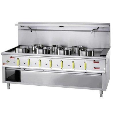 Diamond Wok-Brenner Gasherd mit Wasservorhang 7-4 x 23KW + 3 x 11kw