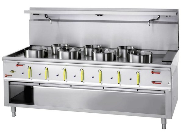 Diamond Wok burner gas stove with water curtain 7 - 4 x 23KW + 3 x 11kw