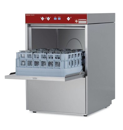 Diamond Glasswasher | 40x40cm | 46x55x (h) 77cm | Loading height 30cm | Made in Italy
