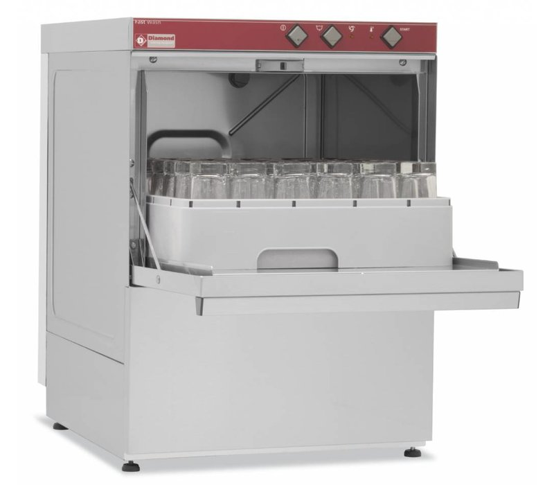 Diamond Glazenspoelmachine | 40x40cm | 53x58x(h)71cm | 30cm Laadhoogte | Made in Italy