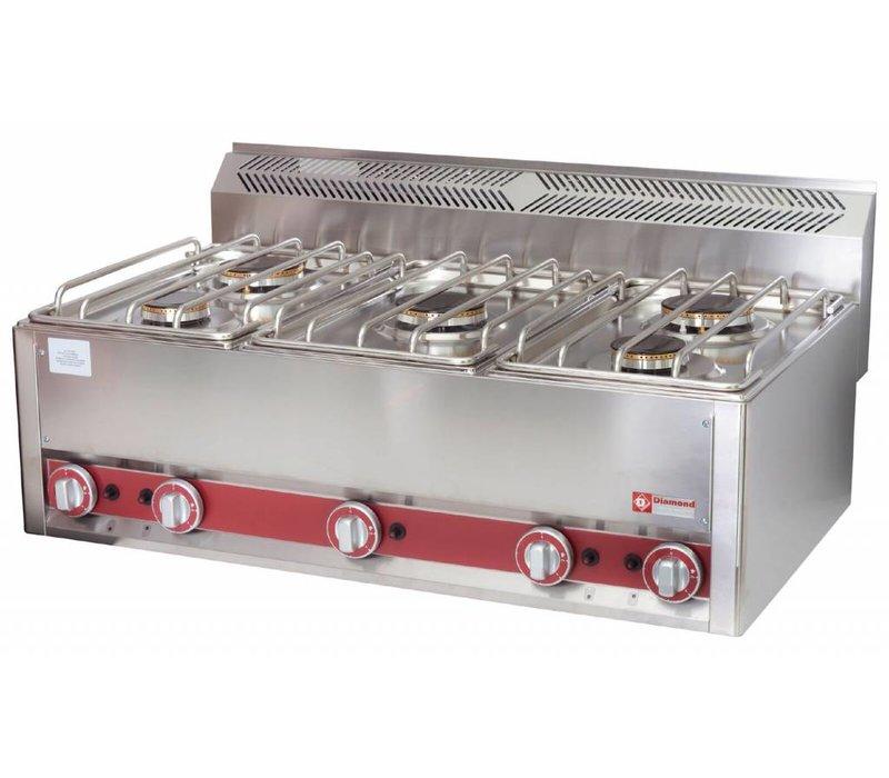 Diamond Horeca Stove | gas | 5 Burners | 3 and 3,6kW | 990x600x (H) 290mm