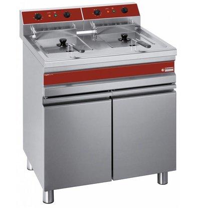 Diamond fryer | electric | PRO | Base Cabinet with tray storage | 2 x 14 Liter | 400-230V | 18 kW | 750x655x (h) 845-985mm