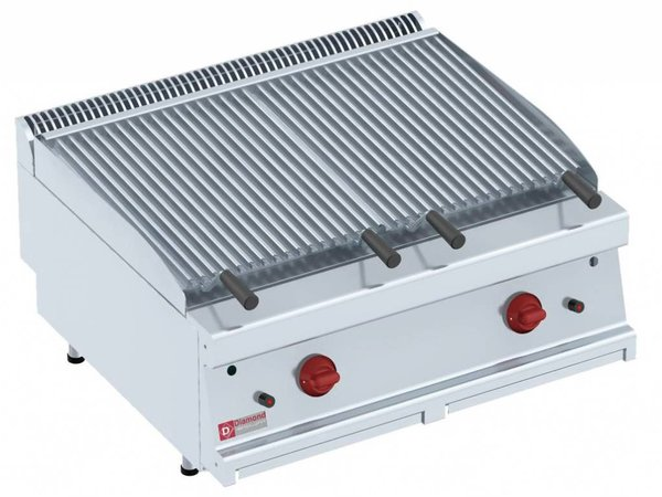 Diamond Lavasteengrill Gas RVS - Dubbelzijdige Grillplaat - 800x700x280(h)mm