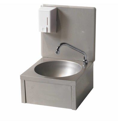 Diamond RVS Handwasbak | Kniebediening + Zeepverdeler | Koud Water | 330x350x(H)500 mm