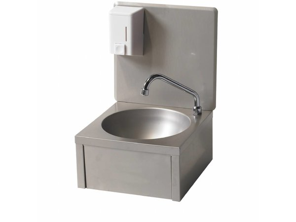 Diamond Stainless Steel Hand sink | Knee Control + Soap dispenser | Cold water | 330x350x (H) 500 mm