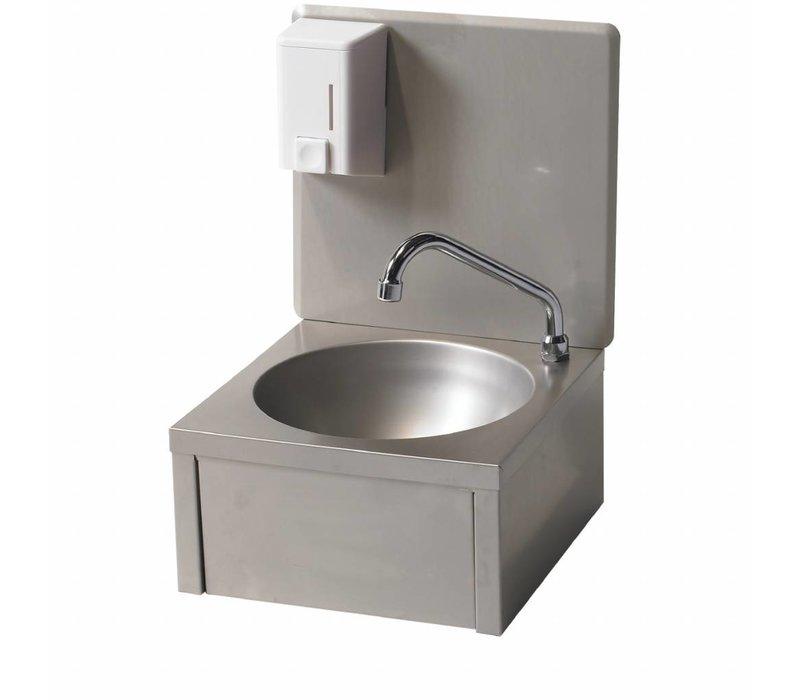Diamond Edelstahl-Handwaschbecken | Knee Strg + Seifenspender | Kaltes Wasser | 330x350x (H) 500 mm