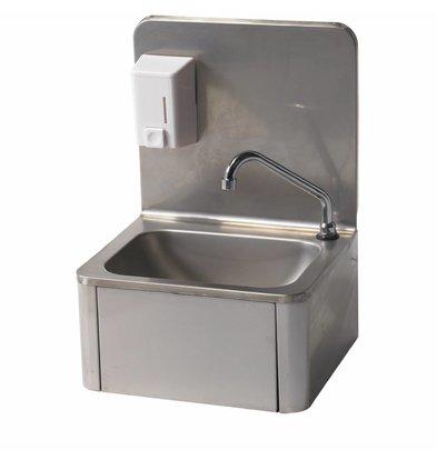 Diamond RVS Handwasbak | kniebediening | + Zeepdispenser | Koud/Warm | 400x340x(H)595 mm