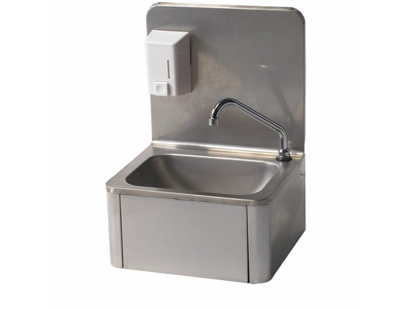 Diamond Stainless Steel Hand sink | knee operation | + Soap Dispenser | Cold / Hot | 400x340x (H) 595 mm