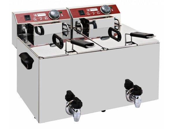 Diamond Electric Fryer PRO   2x8 Liter   With Bleed taps   7kW   560x450x (H) 370mm