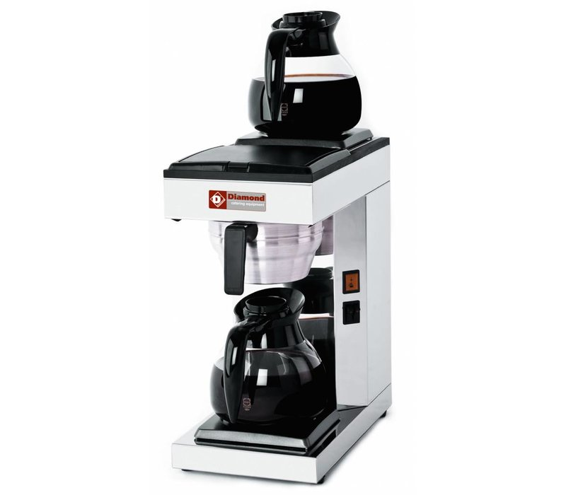 Diamond Coffee 1,8 Liter Digital | Incl. 2 Glass Jugs and 2 Hot Plates | 2,4KW