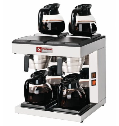 Diamond Coffee 1,8 Liter Double | manual | Incl. 4 glass jugs and 4 Hot Plates | 4,8KW