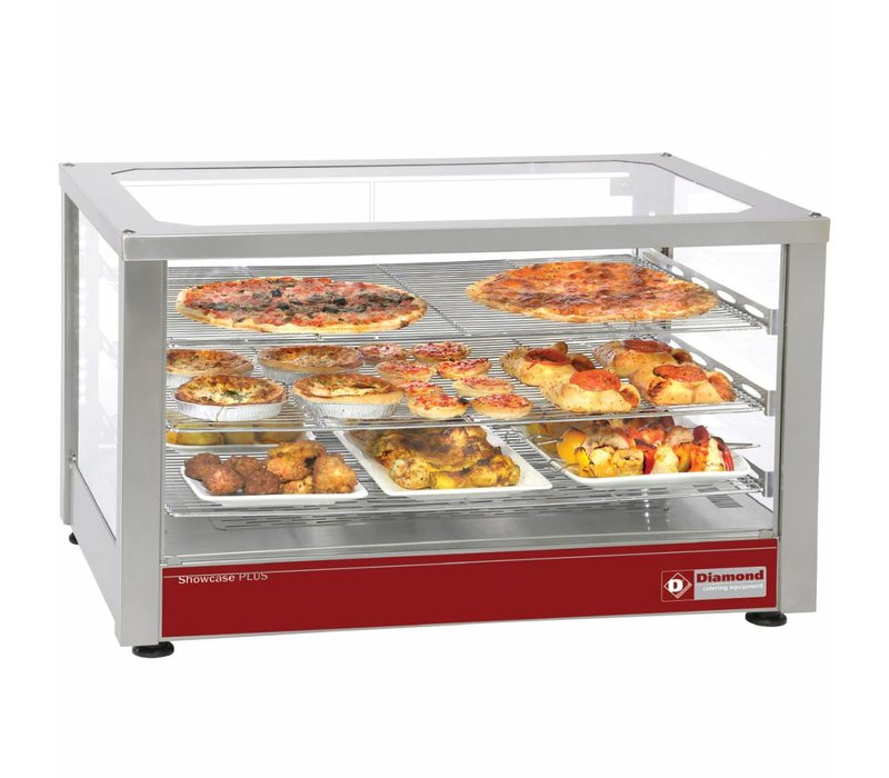 Diamond Heated display case with 3 Levels | panoramic | Genventileerd | 780x490x480 (h) mm