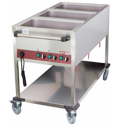 Diamond Bain-Marie Trolley - 3 x 1 / 1GN - 200mm Deep - Individually adjustable - 1300x650x (H) 900mm
