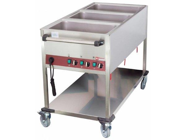 Diamond Bain-Marie Trolley - 3 x 1 / 1GN - 200mm Deep - Individually adjustable - 1300x650x (H) 900mm