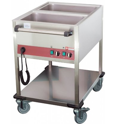 Diamond Bain-Marie Trolley - 2 x 1 / 1GN - 200mm Deep - Individually adjustable - 900x650x (H) 900mm