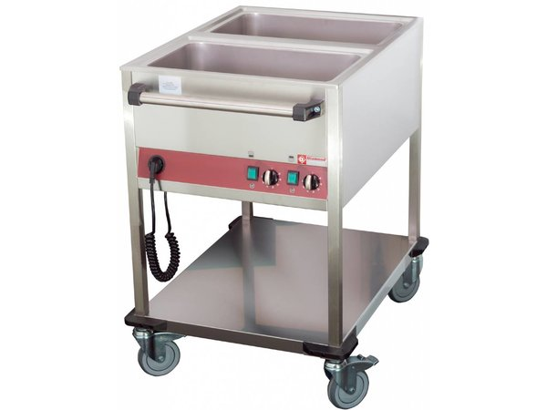 Diamond Bain-Marie Wagen - 2 x 1/1 GN - 200 mm Tiefe - Individuell einstellbar - 900x650x (H) 900 mm